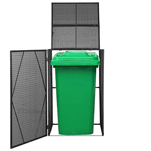 Heitamy Wheelie Bin Shed Poly Rattan Black Outdoor Wheelie Storage Shed for Garbage Garden Tools Fire Wood
