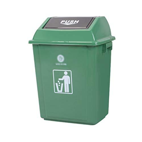 LXF Outdoor Waste Bins Swing Box Home Garden Kitchen Garbage Recycling Plastic Trash Black Wheelie bin Color  Green Size  42L