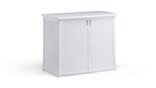 Suncast 97-Gallon Large Deck Cabinet Box - Lightweight Resin IndoorOutdoor Storage Container for Patio Cushions and Gardening Tools - Store Items on Patio Garage Yard - White