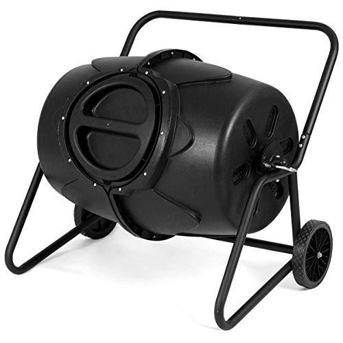 eesWheeled Compost Tumbler Garden Waste Bin Grass Trash Barrel Fertilizer  50 Gallon