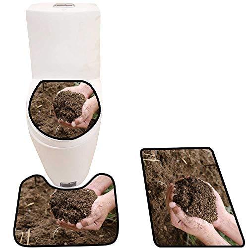 The Floor 3-Piece Bathroom Mat Set Compost Soil organicfertilizer on for platation 3D Digital Printing Rug Set