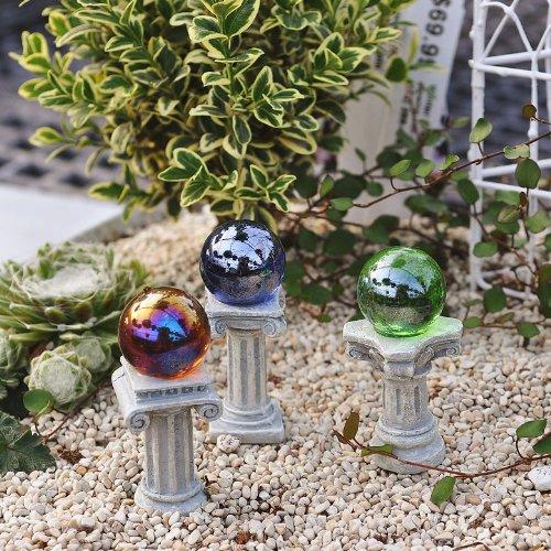 Miniature Fairy Garden Greek Gazing Balls Including Stands Set of 3
