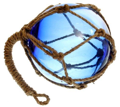 8 Blue Glass Nautical Fishing FloatJute Rope - Garden Globe