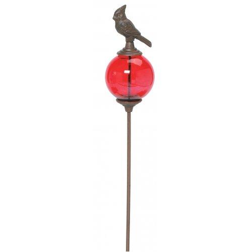 Cardinal Bird Cast Iron Glass Globe Garden Stake 45-inch globe Color Varies Outdoor Yard Art
