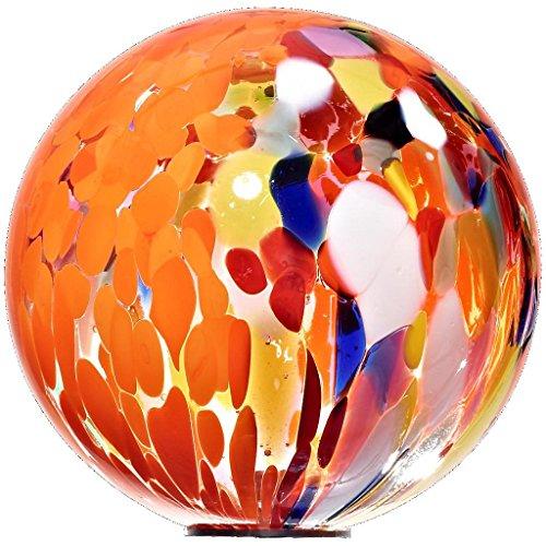 Garden Globe Roseglobe Glass Globe POINT orange with multicolor diameter aprox Ø 13 cm decorative ornament sphere handblown glass GardenFlair powered by CRISTALICAGarden Globe Roseglobe