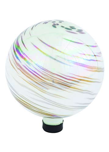 Russco III GD137203 Glass Gazing Ball 10 White Iridescent Swirl