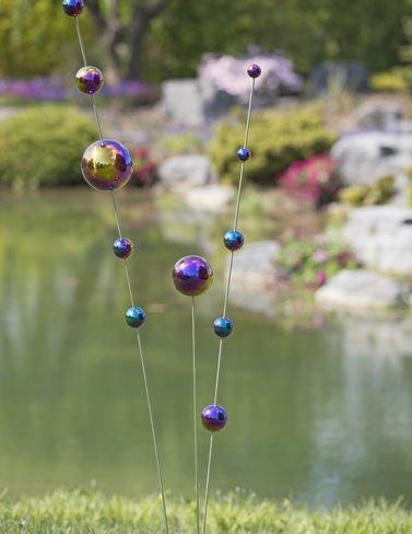 Gazing Ball Stakes Blueamp Purple Set Of 3
