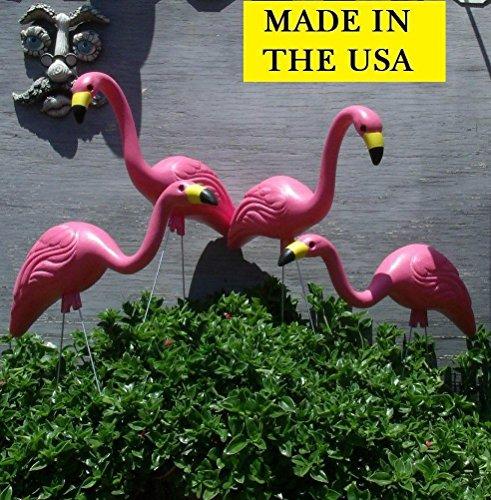 4 Large 25&rdquo Pink Flamingos Plastic Yard Garden Lawn Art Ornaments Decorations
