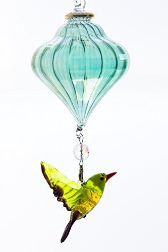 Spirit Piece Handblown Glass Vase with Songbird - Amazing Garden Decor - Yard Ornament - Unique Birthday Gift