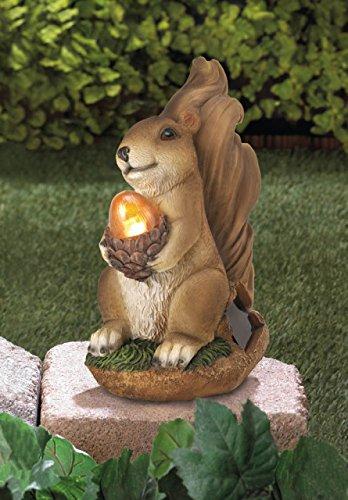 Solar Garden Animal Statues Squirrel Concrete Sculptures Resin Outdoor Decor Patio Lawn Yard Ornament