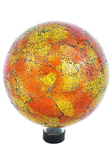 Russco Iii Gd137166 Glass Gazing Ball 10&quot Orange Mosaic Crackle