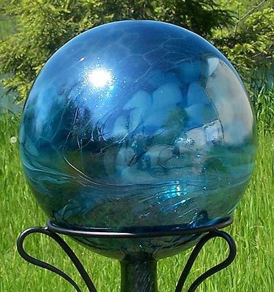 Glass Gazing Ballquotsea Green&quot 12 Inch By Iron Art Glass Designs