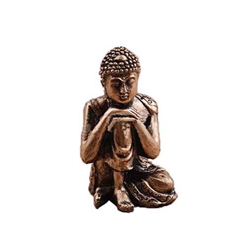 ASKJ Polyresin Buddha Statue Mini Sitting Zen Buddha Statue Retro Meditating Indoor Home Decor Outdoor Garden Ornament Statue Gold Bronze