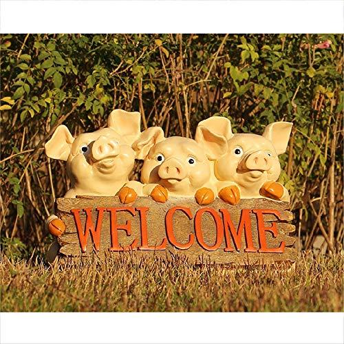 QERNTPEY-Outdoor Garden Ornaments Cute Pink Pig Garden Welcome Sign Wood Garden Accessories Miniature Statue Resin Animal Figurine Small Sculptures Art Décor Color  C4 Size  As Shown