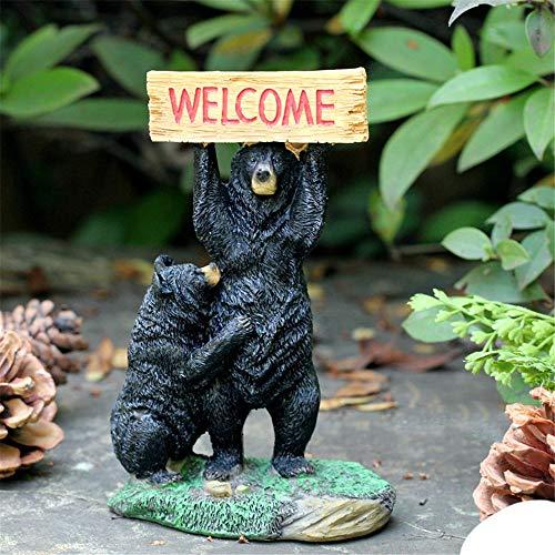 QERNTPEY-Outdoor Garden Ornaments Mini Garden Instruction Welcome Sign Garden Decor Figurine Welcome Miniature Statues Art Décor Color  C1 Size  Height 16cm