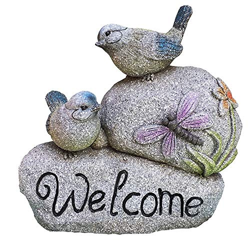 QERNTPEY-Outdoor Garden Ornaments Welcome Sign Garden Bird Statue Small Sculptures Greeting Decorative Miniature Statue for Garden Courtyard Art Décor Color  C1 Size  As Shown