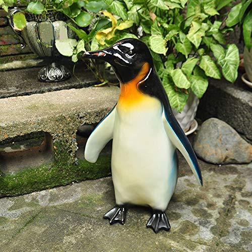 XUROM Garden Sculpture Cute Penguin Decoration Idyllic Countryside Painted Home Garden Outdoor Garden Ornaments Standing Art Black Outdoor Decor for Garden Patio Deck Porch Color  Black Size  M