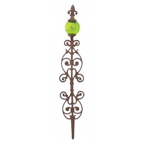 Fleur De Lis Cast Iron Glass Globe Garden Stake 32-inch Globe Color Varies Outdoor Yard Art