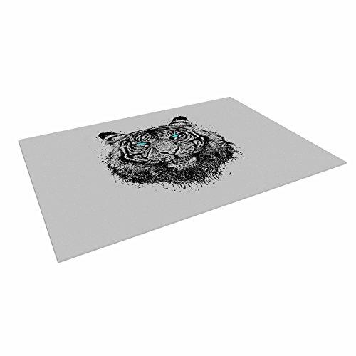 "Kess Inhouse Barmalisirtb ""tiger Gaze"" Black Gray Outdoor Floor Mat, 4' X 5'"