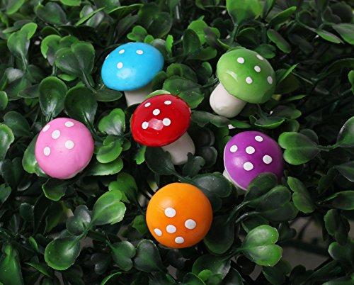 60 Pcs Miniature Fairy Garden Colorful Mushroom