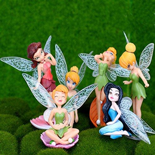 6pcs Flower Pixie Fairy Miniature Figurine Dollhouse Garden Ornament Decoration