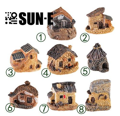 SUN-E 8pcsRandom color In Set Moss fairy Miniature Fairy Garden Stone House Statue Home Decoration Outdoor Decor