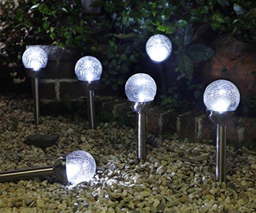 Grand Patio Crackle Glass Globe Solar Path Lights Weather-Resistant Solar Garden Lights Landscape Solar Lights Outdoor Set of 4