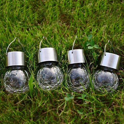 Jess New 4pcs Crackle Glass Globe Solar Lights With Hanger Pathway Solar Gazebo Light