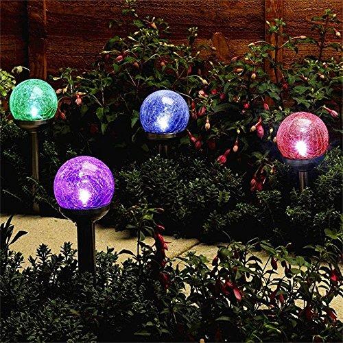 Nopteg 3pack Colorful Crackle Glass Globe Solar Lightsolar Graden Lightssolar Led Lightssolar Pathway Lights