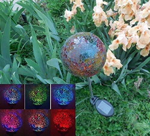 Solar Colorful Ball Globe Light black05r Solar Power Multi-color Color Changing Led Mosaic Crackle Glass Decorative