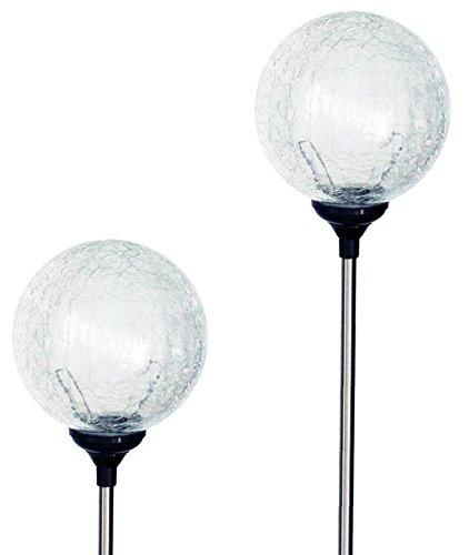 Solaration 1003-2 Crackle Glass Globe Solar Lawn Light 35&quot Dia 2 Pack