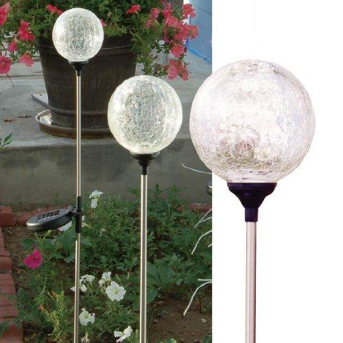 Solaration174 Crackle Glass Globe Solar Lawn Light 35 Dia 3 Pack