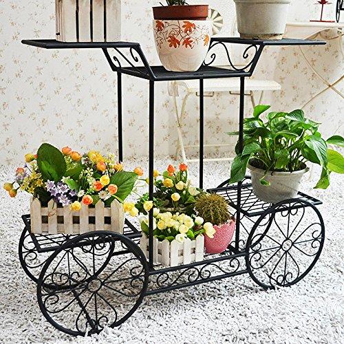 Dazone Metal Cart Flower Rack Display Garden Tree Home Decor Patio Plant Stand Holder