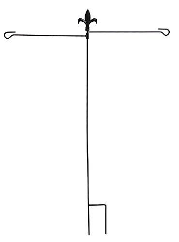 Evergreen Fleur de Lis Dual Flag Metal Garden Stand 32 x 43 inches