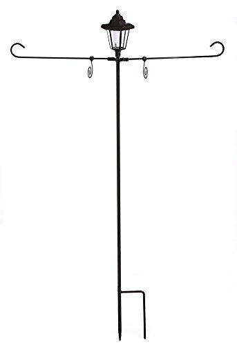 Evergreen Solar Powered Lantern Dual Garden Flag and Door Hanger Stand