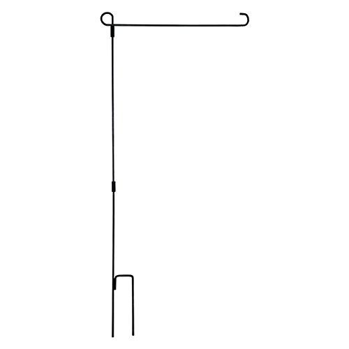 Henri Wrought Iron Garden Flag Stand Collapsible Holder - Black