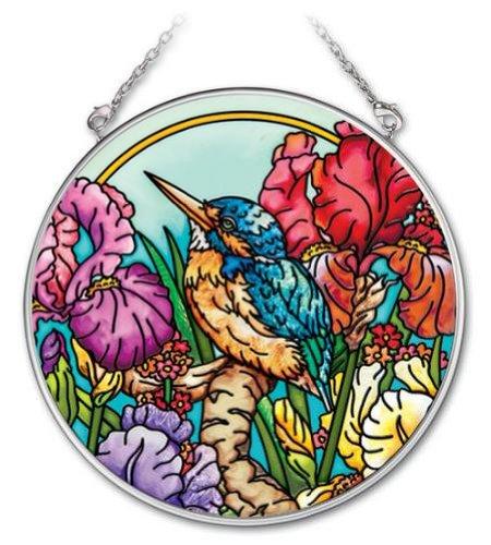 Amia 4-12-Inch Circle Hand-Painted Glass Suncatcher Kingfisher Bird Medium