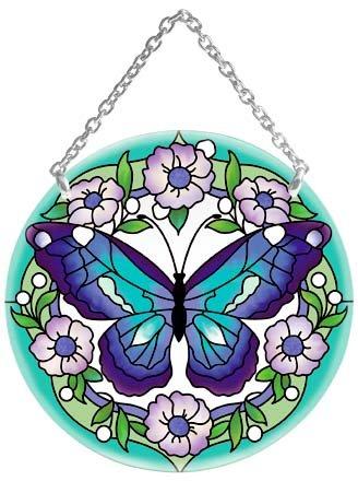 Blue Butterfly Hand Painted Art Glass Suncatcher