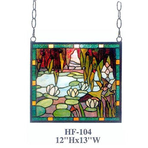 HDO Glass Panels HF-104 Rural Vintage Tiffany Style Stained Church Art Glass Decorative Pastoral Lotus&Pond Rectangle Window Hanging Glass Panel Suncatcher 12 Hx13 W