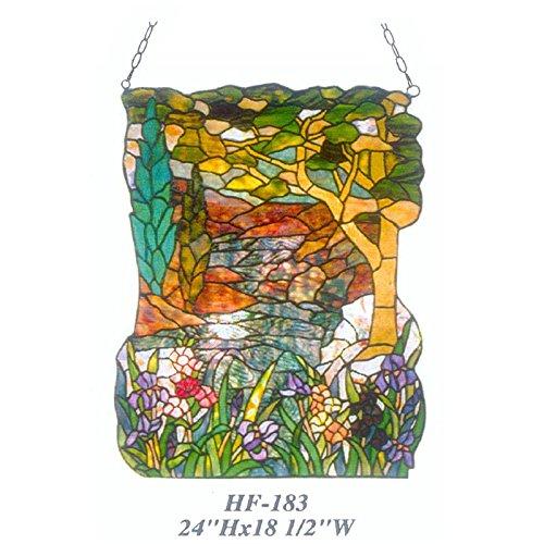 HDO Glass Panels HF-183 Tiffany Style Stained Glass Summer View Window Hanging Glass Panel Suncatcher 24x185