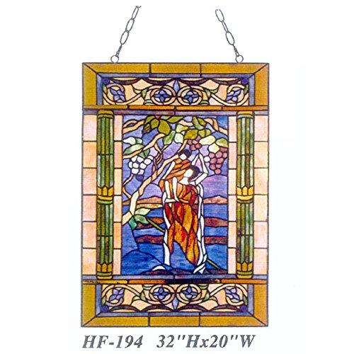 HDO Glass Panels HF-194 Pastoral Tiffany Style Stained Glass Art Grapes Decorative Window Hanging Glass Panel Suncatcher 32 Hx20 W