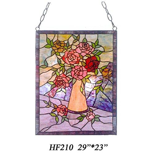 HDO Glass Panels HF-210 Tiffany Style Stained Church Art Glass Roses Rectangle Window Hanging Glass Panel Suncatcher 29 Hx23 W