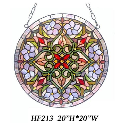 HDO Glass Panels HF-213 Tiffany Style Stained Church Art Glass Pastoral Decorative Snowman Round Window Hanging Glass Panel Suncatcher 20 Hx20 W