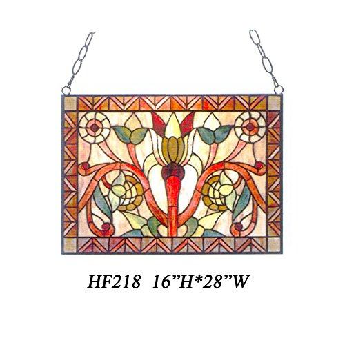 HDO Glass Panels HF-218 Tiffany Style Stained Church Art Glass Floral Rectangle Window Hanging Glass Panel Suncatcher 16 Hx28 W