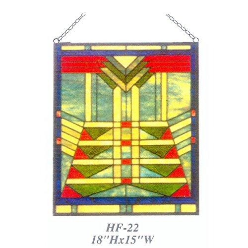 HDO Glass Panels HF-22 Tiffany Style Stained Church Art Glass Window Hanging Glass Panel Suncatcher 18 Hx15 W