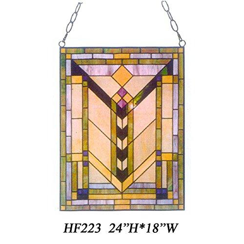 HDO Glass Panels HF-223 Tiffany Style Stained Church Art Glass Simple Window Hanging Glass Panel Suncatcher 24 Hx18 W