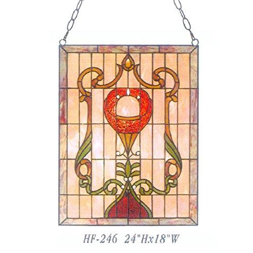 HDO Glass Panels HF-246 Vintage Tiffany Style Handmade Stained Glass Church Art Rectangle Window Hanging Glass Panel Suncatcher 24x18