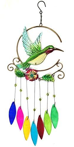 Bejeweled DisplayUnique Beautiful Hummingbird w Stained Glass Wind Chimes