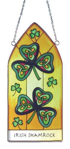Irish Shamrock Suncatchers - shamrock gothic stained glass plaque window hanging Irish gift shipped from Ireland