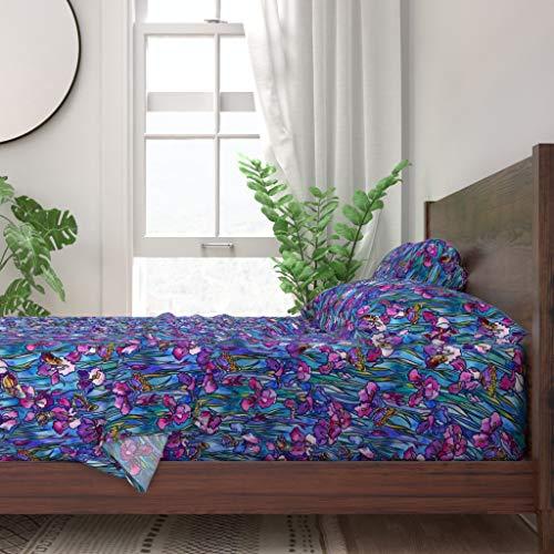 Roostery Sheet Set Watercolor Irises  Butterflies Floral Butterfly Iris Stained Glass Print 100 Itallian Cotton Sateen Sheet Set Queen